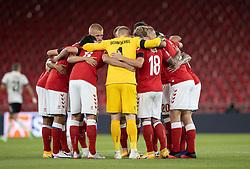 Det danske hold gør sig klar til UEFA Nations League kampen mellem Danmark og Belgien den 5. september 2020 i Parken, København (Foto: Claus Birch).