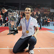 Vaakifbank GS TT coach Giovanni GUIDETTI with Women's Volleyball CEV Champions League final for trophy after winning during their Women's Volleyball CEV Champions League semi final match at Burhan Felek Arena in Istanbul, Turkey on 20 March 2011. Photo by TURKPIX