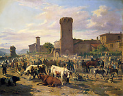 Cattle Market at Arbresie'. Louis Guy (1824-1888) French artist. Oil on Canvas.