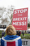 A lady holding a Stop The Brexit Mess placard on the 16th January 2019 in London in the United Kingdom. Prime Minister Theresa May is expected to win a confidence vote on the 16th, despite a crushing defeat over her Brexit deal.