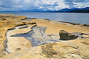 Weathered rock in Gulf Islands<br /> Hornby Island in the Gulf Islands<br /> British Columbia<br /> Canada