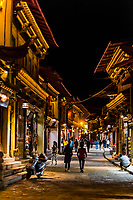 The renovated Old Town at night Shangri La (Zhongdian), Yunnan Province, China.