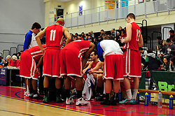 Bristol Academy Flyers gather during a time out - Photo mandatory by-line: Dougie Allward/JMP - Tel: Mobile: 07966 386802 23/03/2013 - SPORT - Basketball - WISE Basketball Arena - SGS College - Bristol -  Bristol Academy Flyers V Essex Leopards