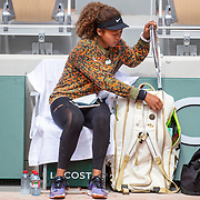 PARIS, FRANCE May 26. Naomi Osaka of Japan after practice on Court Philippe-Chatrier in preparation for the 2021 French Open Tennis Tournament at Roland Garros on May 6th 2021 in Paris, France. (Photo by Tim Clayton/Corbis via Getty Images)