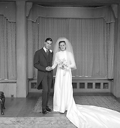 HENRY CECIL and JULIA MURLESS on their wedding day at Freemason Lodge, Newmarket, Suffolk on 18th October 1966.