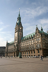 Facade of a town hall building, Hamburg, Germany
