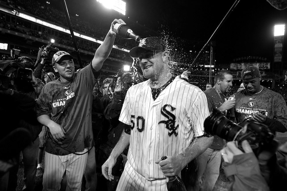 Chicago White Sox vs Minnesota Twins playoff for AL Central title -- Chicago White Sox pitcher Jon Danks (50) celebrates their 1-0 victory over the Minnesota Twins...