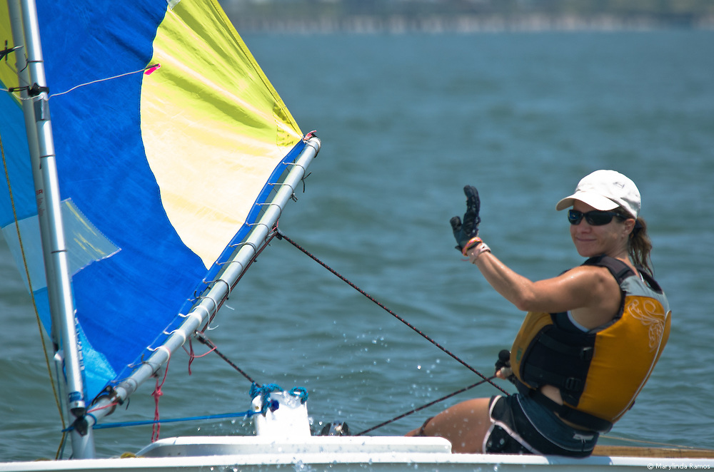 Harkers Island, NC, July 30, 2011 - Sonya Dean, on her way to becoming the first woman to win the round-the-island race at the 10th Annual Harkers Island Regatta.