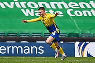 GOAL 0-1 Glenn Middleton (#16) of St Johnstone FC celebrates after scoring the opening goal during the SPFL Premiership match between Hibernian and St Johnstone at Easter Road Stadium, Edinburgh, Scotland on 1 May 2021.