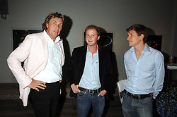 Left to right, THEO FENNELL, GUY PELLY and DAVE CLARK at a party to celebrate the launch of the Boodles Wonderland jewellery collection held at the Haymarket Hotel, 1 Suffolk Place, London on 9th June 2008.<br />