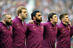 Billy Vunipola (England) lines up for the anthems - Photo mandatory by-line: Patrick Khachfe/JMP - Tel: Mobile: 07966 386802 09/11/2013 - SPORT - RUGBY UNION -  Twickenham Stadium, London - England v Argentina - QBE Autumn Internationals.