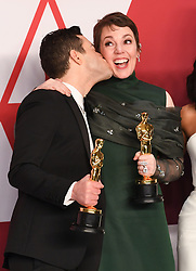 Rami Malek, winner of Best Actor for 'Bohemian Rhapsody' and Olivia Colman, winner of Best Actress for 'The Favourite' in the press room at the 91st Academy Awards held at the Dolby Theatre in Hollywood, Los Angeles, USA. Photo credit should read: Doug Peters/EMPICS.