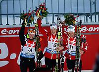 Skiskyting<br /> IBU World Cup<br /> 16.01.2015<br /> Foto: Gepa/Digitalsport<br /> NORWAY ONLY<br /> <br /> RUHPOLDING - TYSKLAND<br /> <br /> IBU World Cup, sprint, 7,5 km, ladies. Image shows Darya Domracheva (BLR), Fanny Welle-Strand Horn and Tiril Eckhoff (NOR).