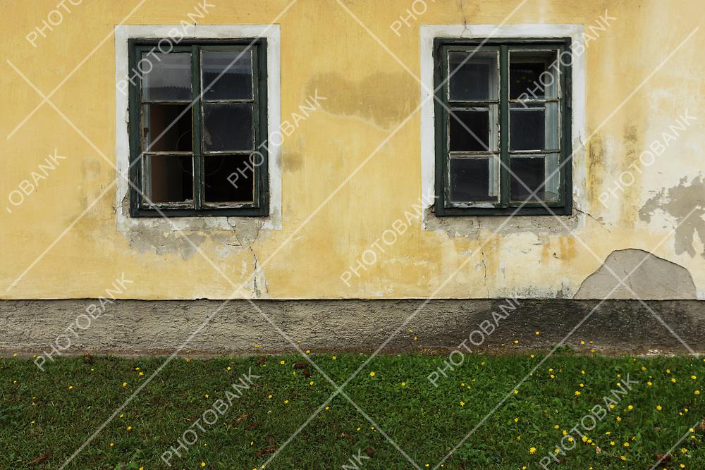 Closeup of windows in suburbs