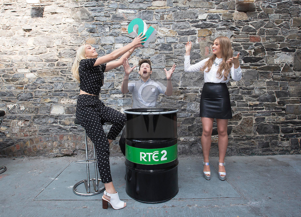 Repro Free: 11/09/2014<br /> Blathnaid Treacy and Stephen Byrne with Diana Bunici pictured at the RTÉ Two New Season Launch in Gateway House, Capel Street. Picture Andres Poveda