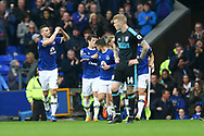 Morgan Schneiderlin of Everton (l) celebrates with his teammates after scoring his teams 2nd goal. Premier league match, Everton v West Bromwich Albion at Goodison Park in Liverpool, Merseyside on Saturday 11th March 2017.<br /> pic by Chris Stading, Andrew Orchard sports photography.