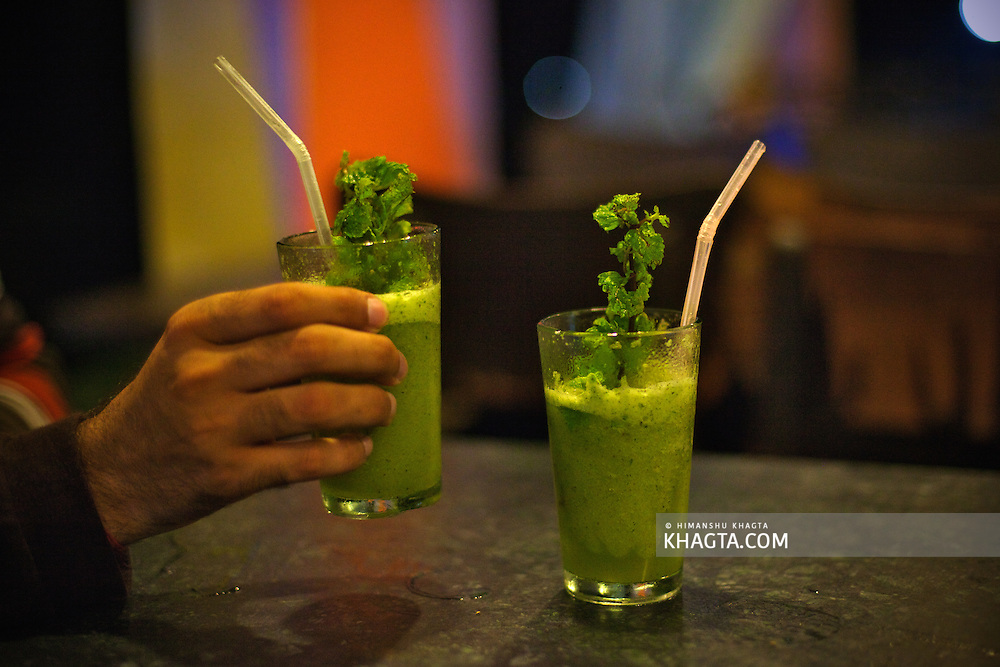 Mint Lemonada, mint mixed with lemon and crushed ice in a cafe in Pushkar.<br /> <br /> Holy town of Pushkar, 14 kms from Ajmer is famous for its annual camel fair held in the autumn. With a scared lake, old temples and roof top restaurants, its a major tourist attraction attracting mostly foreign tourists. Pushkar also offers a great variety of delicious food. The town that got famous by its colorful camel fair is a very old religious place for Hindu pilgrims. Getty Stock Image<br /> Only available for licensing on<br /> www.gettyimages.com