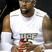Central Florida guard Marcus Jordan (5) rests on the bench during their game against Louisville at the UCF Arena on December 15, 2010 in Orlando, Florida. UCF won the game79-58. (AP Photo/Alex Menendez)