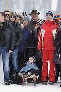 Spectators at the winners enclosure at White Turf 2011 horse  racing event in St Moritz, Switzerland.