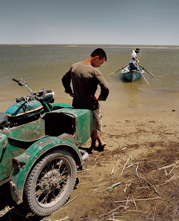 Near Moynaq town, former fishing port on the Aral Sea, now 180km from shore. <br /> Since 1960's, The Aral Sea has been drained of 75% of its water, because of the diversion of upstream rivers that are used for cotton plantation. It use to be the 4th largest lake in the world. The resulting desertification is accelerating dramatically global warming. High salinity means no more fish. Anthrax and rabbies test were also done in a former island in the sea that is now linked to the shore.... <br /> Uzbekistan.