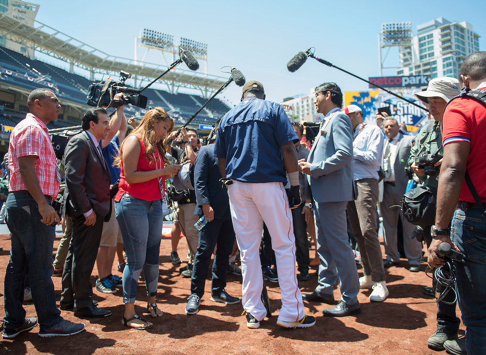 David Ortiz is surrounded by media before the 2016 MLB All-Star Game in San Diego on Tuesday.<br /> <br /> <br /> ///ADDITIONAL INFO:   <br /> <br /> allstar.0713.kjs  ---  Photo by KEVIN SULLIVAN / Orange County Register  -- 7/12/16<br /> <br /> The 2016 MLB All-Star Game at Petco Park in San Diego.