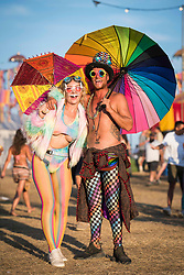 Festival goers wearing Circus fancy dress at Bestival 2018 Lulworth Castle - Wareham. Picture date: Saturday 4th August 2018. Photo credit should read: David Jensen/EMPICS Entertainment