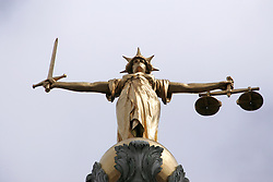 Lady Justice statue which stands atop the Old Bailey, Central Criminal Court, London