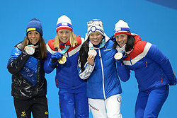 February 15, 2018 - Pyeongchang, South Korea - (shown left to right ) CHARLOTTE KALLA of Sweden , RAGNHLD HAGA of Norway , KRISTA PARMAKOSKI of Finland and MARIT BJORGEN of Norway with their medals from the Ladies' 10km Free cross-country event In the PyeongChang Olympic games. (Credit Image: © Christopher Levy via ZUMA Wire)