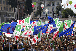 September 30, 2018 - Rome, Italy - ROME, ITALY - SEPTEMBER 30: Supporters of Democratic Party (PD), Italian centre-left political party, wave flags during a demonstration against the current government policies on September 30, 2018 in Rome, Italy. (Credit Image: © Danilo Balducci/ZUMA Wire)