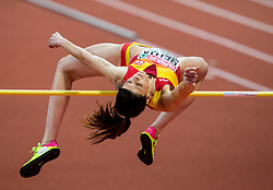 Ruth Beitia of Spain competes in the High Jump Women Final on day two of the 2017 European Athletics Indoor Championships at the Kombank Arena on March 4, 2017 in Belgrade, Serbia. Photo by Vid Ponikvar / Sportida