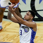 ORLANDO, FL - APRIL 12: Chuma Okeke #3 of the Orlando Magic attempts a shot against the San Antonio Spurs during the second half at Amway Center on April 12, 2021 in Orlando, Florida. NOTE TO USER: User expressly acknowledges and agrees that, by downloading and or using this photograph, User is consenting to the terms and conditions of the Getty Images License Agreement. (Photo by Alex Menendez/Getty Images)*** Local Caption *** Chuma Okeke