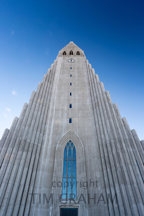Modern architecture front elevation of Lutheran church Hallgrímskirkja Cathedral in Reykjavik, Iceland designed by Gudjon Samuelsson