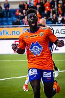 1. divisjon fotball 2018: Aalesund - Levanger (4-0). Aalesunds Pape Habib Gueye jubler etter at Holmbert Fridjonsson har satt inn 1-0 i kampen i 1. divisjon i fotball mellom Aalesund og Levanger på Color Line Stadion. Målgivende fra Gueye.