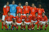 Fotball<br /> Treningskamp - Privatlandskamp<br /> 18.02.2004<br /> Nederland v USA<br /> Foto: Pro Shots/Digitalsport<br /> Norway Only<br /> <br /> achter : van nistelrooij, van der sar , cocu , stam , bouma , davids. voor: heitinga , robben , sneijder , van der vaart , van der meyde .