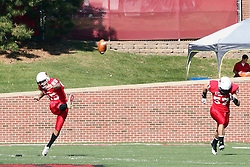 22 October 2011: Nick Aussieker puts the ball into play after a touchdown and extra point during an NCAA football game  the Indiana State Sycamores lost to the Illinois State Redbirds (ISU) 17-14 at Hancock Stadium in Normal Illinois.
