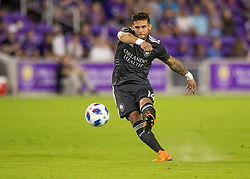 April 21, 2018 - Orlando, FL, U.S. - ORLANDO, FL - APRIL 21: Orlando City forward Dom Dwyer (14) shoots on goal during the MLS soccer match between the Orlando City FC and the San Jose Earthquakes at Orlando City SC on April 21, 2018 at Orlando City Stadium in Orlando, FL. (Photo by Andrew Bershaw/Icon Sportswire) (Credit Image: © Andrew Bershaw/Icon SMI via ZUMA Press)