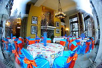 Fisheye View Through a Window Into the Ahwahnee Lodge into a Room Set Up for a Wedding Reception. Image taken with a Nikon D3x and 16 mm f/2.8 fisheye lens (ISO 800, 16 mm, f/2.8, 1/25 sec).