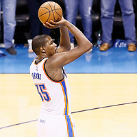 08 May 2016: Oklahoma City Thunder forward Kevin Durant (35) is seen at the free throw line during the Oklahoma City Thunder 111-97 victory over the San Antonio Spurs, during Game Four of the Western Conference Semifinals of the NBA Playoffs at the Chesapeake Energy Arena, Oklahoma City, Oklahoma, USA.