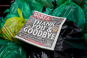 "The last ever copy of tabliod newspaper News of The World in amongst the rubbish where many people felt it belonged. Sunday 10th July 2011 saw the end for this most famous of newspapers. Embroiled in the phone hacking scandal, this News International paper had approximately 7 million readers at the time of it's demise. On the cover of this, the final edition, with examples of previous journalistic success the headline simply read ""Thank You & Goodbye""."