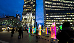 Winter Lights Festival 2019<br /> An exhibition which brings innovative light sculptures, installations and immersive experiences by international artists to Canary Wharf photo call <br /> 14th January 2019 <br /> Canary Wharf, London, Great Britain <br /> <br /> Whale Ghost: An 18m, monumental silhouette of this illuminated whale encourages visitors to think about the effect of humans on our biodiversity<br /> <br /> <br /> Prismatica: An unmissable display of fifty pivoting prisms at Jubilee Plaza act as a mesmerising display of colour that depict City <br /> Life as they reach a crescendo after sunset<br /> <br /> Bit.Fall: A returning favourite to the festival, Bit.Fall uses sophisticated water-valve technology to create a series of illuminated droplets to fall from the air and form words – <br /> <br /> 21 sculptures placed around the whole of Canary Wharf<br /> <br /> Photograph by Elliott Franks