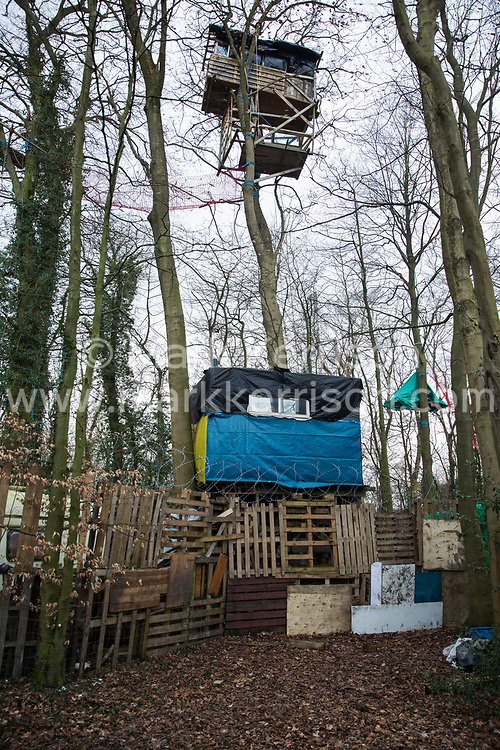 Wendover, UK. 20th February, 2021. A view of some of the exterior of the Wendover Active Resistance Camp which is occupied by activists opposed to the HS2 high-speed rail link from HS2 Rebellion. A chain of such camps has been built by environmental activists along the planned route of the rail project from Euston in London to Birmingham.