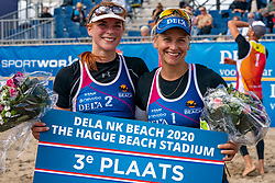 Jantine van der Vlist and Marleen van Iersel win in the bronze medal match 2-1. The Final Day of the DELA NK Beach volleyball for men and women will be played in The Hague Beach Stadium on the beach of Scheveningen on 23 July 2020 in Zaandam.