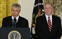 U.S. President Barack Obama's nominee for Secretary of Defence, former Senator Chuck Hagel (L), stands next to counterterrorism adviser John Brennan (R), the nominee for CIA Director, at the White House in Washington D. C., the United States, Jan. 7, 2013. U.S. President Barack Obama on Monday announced that he will nominate former Republican senator Chuck Hagel as the next defence secretary, and counterterrorism adviser John Brennan to lead the Central Intelligence Agency (CIA), January 7, 2013. Photo by Imago / i-Images...UK ONLY