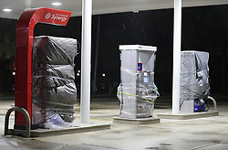 All but one of the gas pumps at a Mobil gas station are wrapped up, for the expected arrival of hurricane Dorian in Indian Harbour Beach, on Monday, September 2, 2019. Photo by Ricardo Ramirez Buxeda/ Orlando Sentinel/TNS/ABACAPRESS.COM