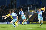 Burton Albion midfielder David Templeton (11) shoots at goal during the EFL Sky Bet League 1 match between Burton Albion and Wycombe Wanderers at the Pirelli Stadium, Burton upon Trent, England on 26 December 2018.