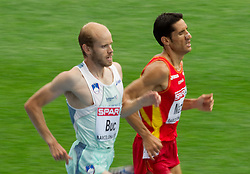 Bostjan Buc of Slovenia and Eliseo Martin of Spain  compete in the Mens 3000m Steeplechase Heat during day four of the 20th European Athletics Championships at the Olympic Stadium on July 30, 2010 in Barcelona, Spain.  (Photo by Vid Ponikvar / Sportida)