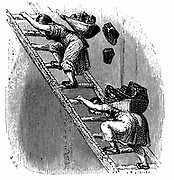 Women workers hauling coal to the surface up a ladder. Leading woman has lost her load and the woman following is in danger of being hurt buy falling coal and and falling off the ladder and crashing to the pit bottom. Woodcut of British mining conditions  c1844.