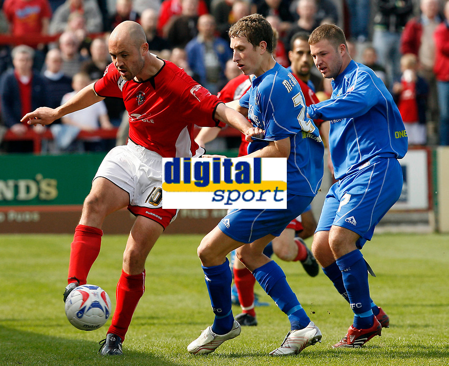 Photo: Paul Greenwood.<br />Accrington Stanley v Macclesfield Town. Coca Cola League 2. 28/04/2007.<br />Accrington's Paul Mullin (L) holds off Kevin McIntyre