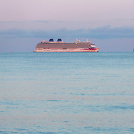 P&O Cruises' largest ship, Britannia at anchor in Weymouth Bay. The cruise industry has suffered a complete shutdown during the covid-19 pandemic and many vessels are currently waiting at various anchorages around the coast of Great Britain and the world.<br /> Picture date Tuesday 1st September, 2020.<br /> Picture by Christopher Ison. Contact +447544 044177 chris@christopherison.com