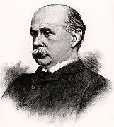 Charles Francis Adams Jnr (1835-1915) American economist, historian and railway expert. Member of the Massachusetts Board of Railroad Commissioners (1869-1879). Chairman of the government directors on the Union Pacific Railroad and its President (1884-1890).   Engraving from 'The Railways of America' (London, 1890).